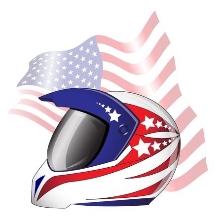 casco de moto: Casco de la motocicleta de color rojo, blanco y azul