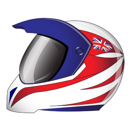 Motorcycle helmet with red, white and blue Union Jack theme British  flag. EPS10 vector format.