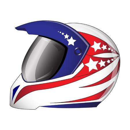 motorradhelm: Motorrad-Helm mit rot, wei� und blau Illustration