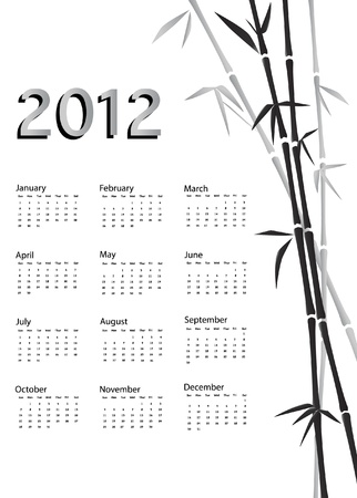 A 2012 calendar. Chinese style with bamboo background in black and white. EPS10 vector. Stock Vector - 10314145