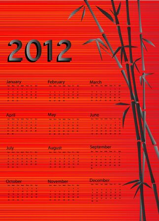 A 2012 calendar. Chinese style with bamboo and red silk background. EPS 10 vector. Stock Vector - 10311353