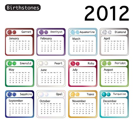 A 2012 calendar showing birthstones for each month. EPS10 vector format. Stock Vector - 10311358