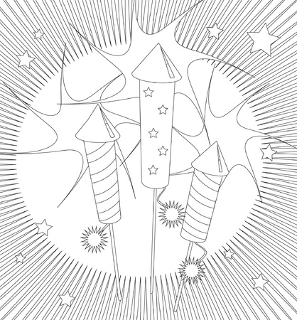 rocket bomb: Fireworks colouring page. Activity sheet for children suitable for printable colouring pages or for party invitations or craft cards. EPS10 vector format. Illustration