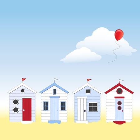 A row of beach huts against blue sky and sand with balloon floating in sky. Space for your text. EPS10 vector format.