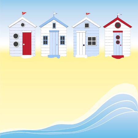 A row of beach huts against blue sky and sand and sea. Space for your text. EPS10 vector format. Vector