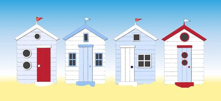 seasides: A row of beach huts against blue sky and sand. Eps10 vector format.