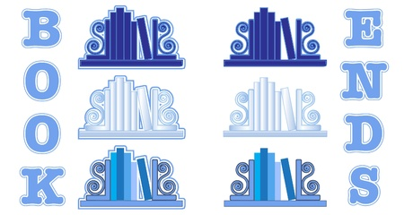 Stylized icons of books with bookends. Shades of blue. EPS 10 vector format Vector