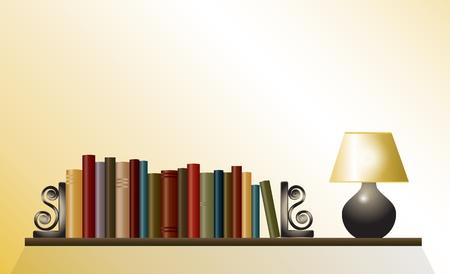 テーブル ランプとブックエンド間で書籍の本棚。テキストのスペースを。EPS10 ベクトル形式。