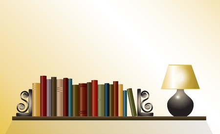A bookshelf of books between bookends with table lamp. Space for your text. EPS10 vector format. Vector