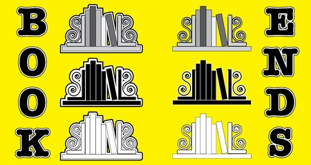 Stylized icons of books with bookends. EPS 10 vector format Vector