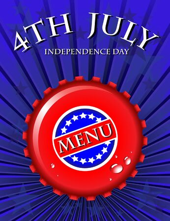 Independence Day Menu template - bottle cap on Stars & Stripes background. EPS10 vector format. Vector