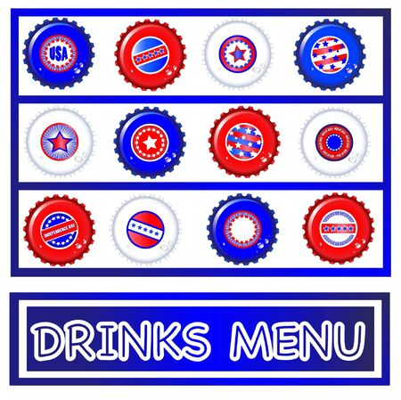 enable: Drinks menu template of Stars & Stripes bottle caps. USA Fourth of July emblems. Background and caps on separate layers to enable easy editing. editing. EPS10 vector format. Illustration