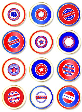 Stars & Stripes stickers. USA Fourth of July emblems.  EPS10 vector format. Stock Vector - 10318406