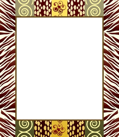 fabric swatch: An African style frame in earth tones. Space for your text or picture.  Illustration