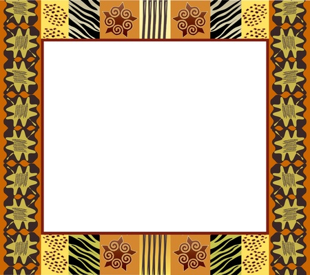 An African style frame in earth tones. Space for your text or picture. Vector
