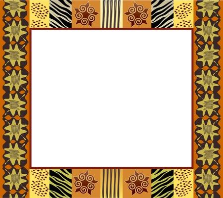 ilustraciones africanas: Un marco de estilo Africano en tonos tierra. Espacio para texto o imagen. Vectores