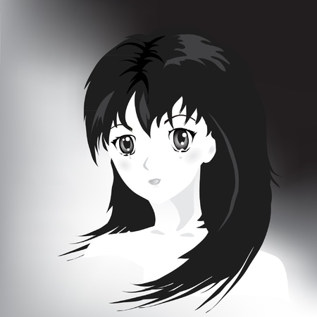 anime young: Anime style portrait of girl in tears. Black and white.  Illustration