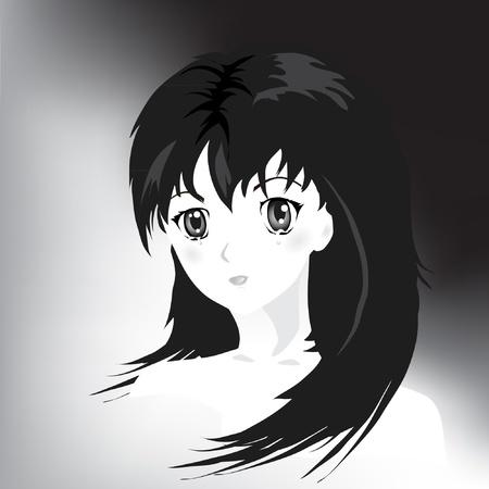 ojos llorando: Retrato de estilo anime de ni�a en l�grimas. Blanco y negro.