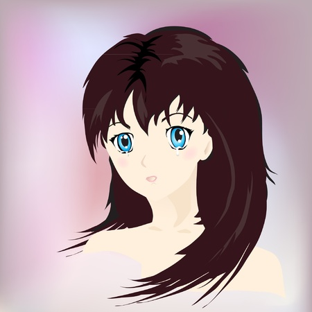 Anime style portrait of girl in tears.  Vector