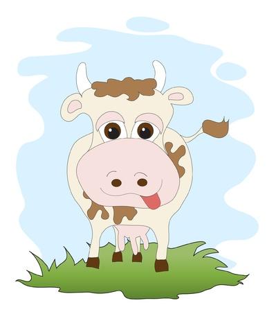 grazing: A cute cartoon cow.   Illustration