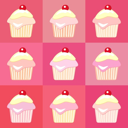 Cupcakes seamless pop art style.  Vector
