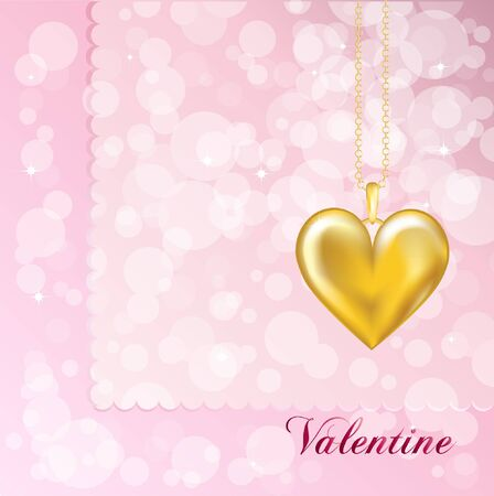 A Valentine card with a gold heart locket. Pink background.   Vector