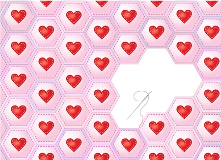 A seamless background of herarts sewn onto patchwork hexagons with needle and thread.  Vector
