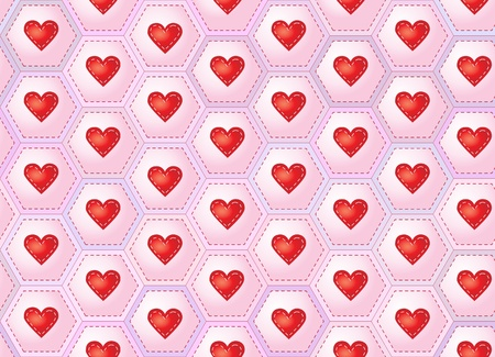 A seamless background of herarts sewn onto patchwork hexagons.   Vector