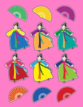 Cute Korean girls in national dress stickers.   Stock Vector - 10333562