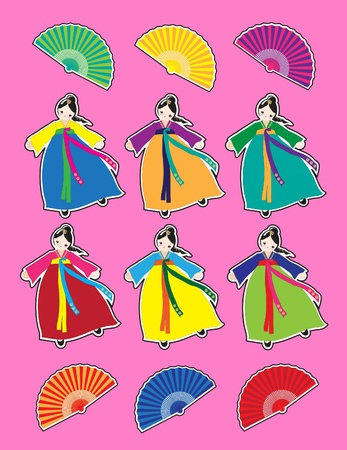 fan dance: Cute Korean girls in national dress stickers.