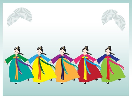 A row of cute Korean girls in national dress.  Vector