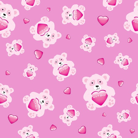 its a girl: Its a girl seamless pattern of bear holding heart. EPS10 vector format.