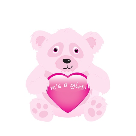 congratulation: Its a girl - bear holding heart. EPS10 vector format.