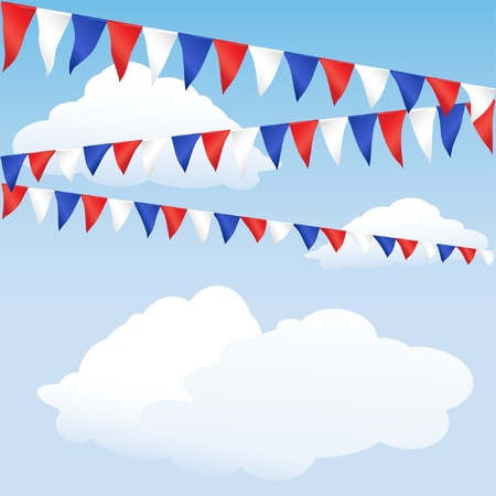 carnival background: Red white and blue bunting. English or USA colours, suitable for 4th of July or Royal Wedding background.   Illustration