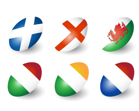 Six rugby balls representing the nations of England, Scotland, Wales, Ireland, France &amp, Italy.  Illustration