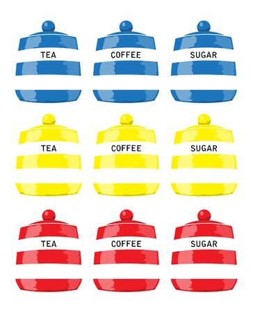 blue white kitchen: Kitchen storage jars for tea, coffee and sugar in primary colours.