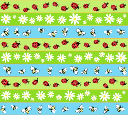 A seamless background of bees, ladybirds and daisies.  Vector
