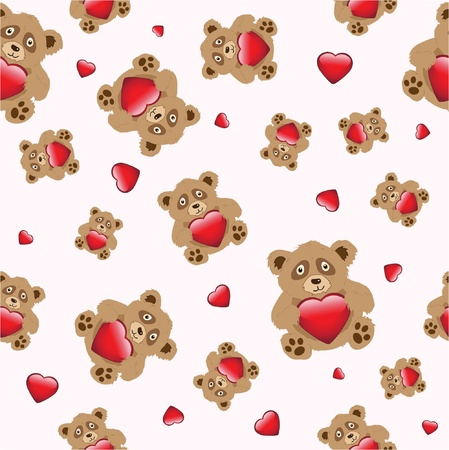 Cute cartoon bears holding a glossy hearts on pastel pink background. EPS10 vector format. Seamless pattern.