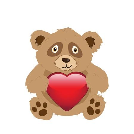 A cute cartoon bear holding a glossy heart isolated on white. EPS10 vector format Stock Vector - 10481448