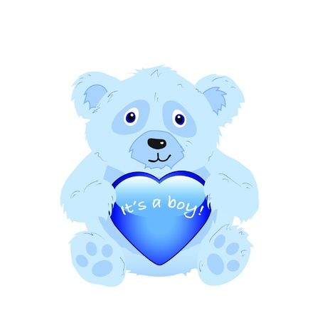 its: Its a boy! A cute cartoon bear holding a glossy heart isolated on white. EPS10 vector format Illustration