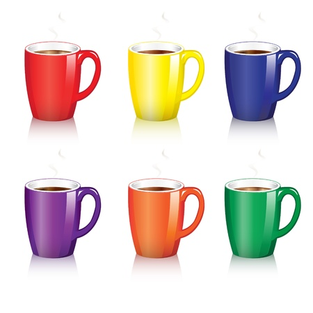 Six bright coffee mugs with steam and shadow. EPS10 vector format. Stock Vector - 10481433