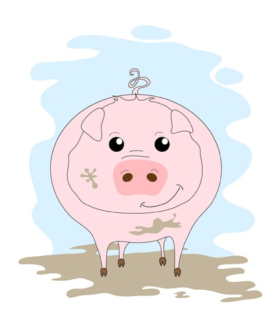 A cute pig in mud cartoon. EPS10 vector format Vector