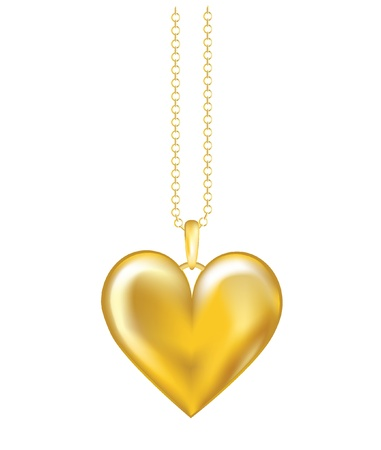 locket: A realistic vector illustration of a gold locket on chain. Isolated on white background. EPS10 vector format. Illustration