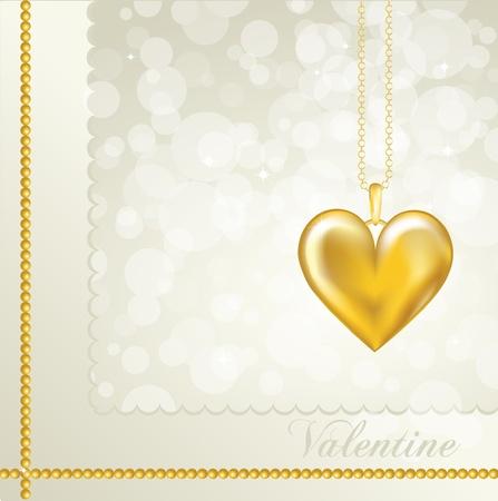 medaglione: Una carta di San Valentino con un medaglione cuore d'oro. Colore di sfondo neutro. Completamente modificabili EPS10 formato vettoriale con spazio per il testo.