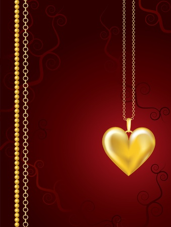 Gold heart locket on red floral background with space for text. EPS10 vector format.