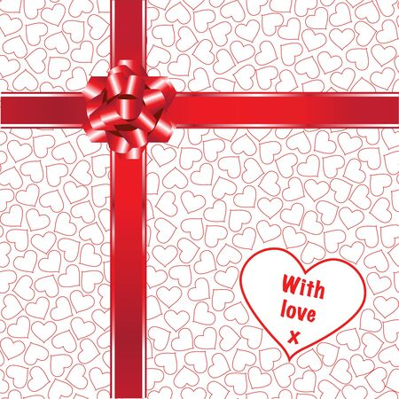 A gift with red ribbons, bow and love hearts. Fully editable for insertion of your own text. EPS10 vector format. Vector