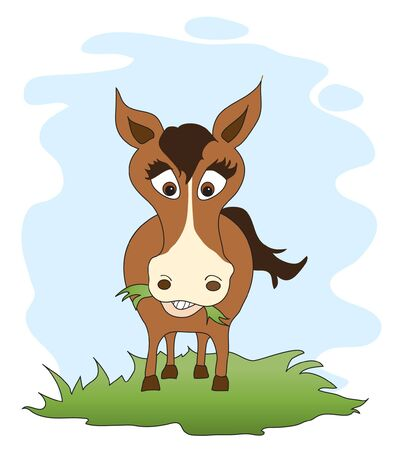 A cute horse cartoon. EPS10 vector format. Illustration