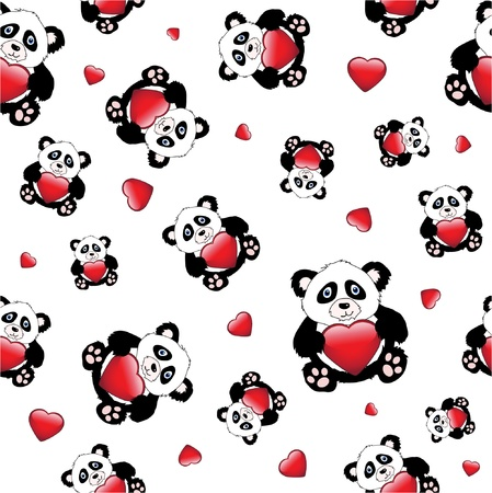Cute cartoon pandas holding a glossy hearts. isolated on white. EPS10 vector format. Seamless pattern. Vector