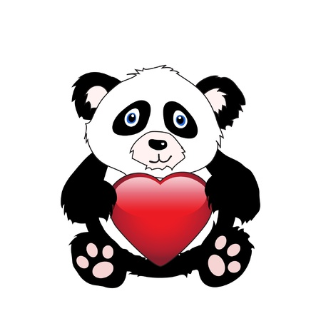 A cute cartoon panda holding a glossy heart isolated on white. EPS10 vector format with space for your text Vector