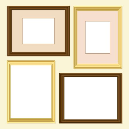 mounts: Picture frames in gold and wood finish, with and without mounts. EPS10 vector format